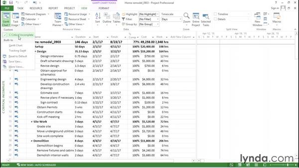 Saving customized and new elements: Advanced Microsoft Project