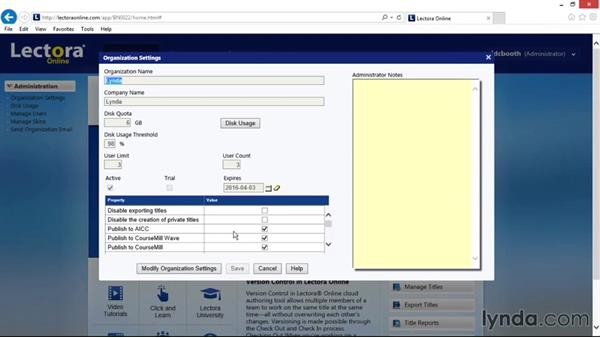 Viewing and editing organization settings: Up and Running with Lectora Online 2.0