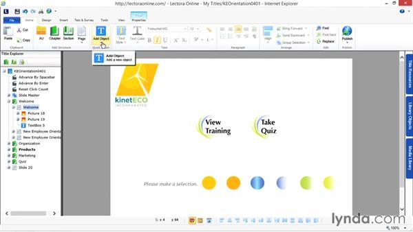 Adding and editing text: Up and Running with Lectora Online 2.0