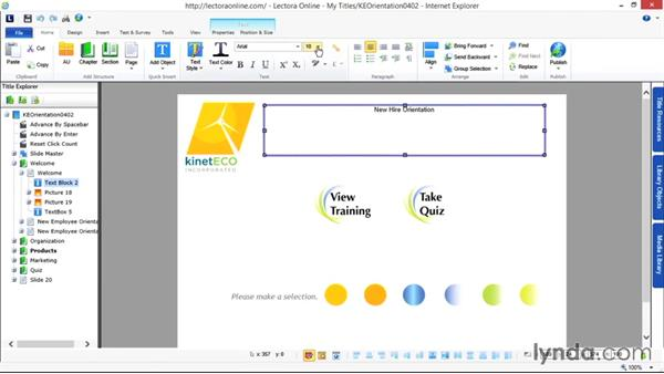 Formatting text: Up and Running with Lectora Online 2.0