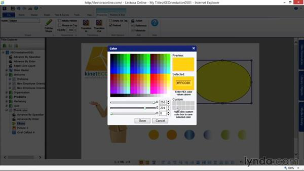 Working with shapes: Up and Running with Lectora Online 2.0