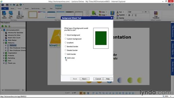 Using the background wizard: Up and Running with Lectora Online 2.0