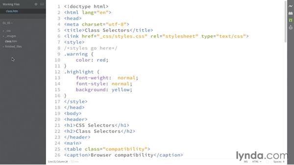 Targeting classes: CSS: Selectors