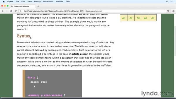 Descendent selectors: CSS: Selectors