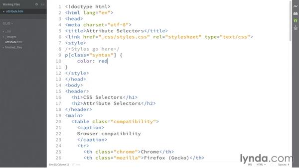 Specifying attribute values: CSS: Selectors