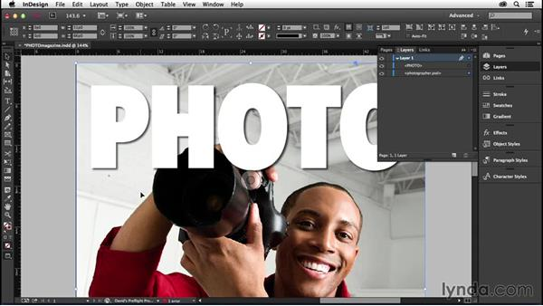 190 Make an image sandwich: Putting an image in front and in back of text for a magazine cover: InDesign Secrets
