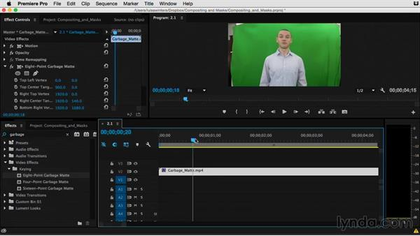 Isolating footage with masks: Premiere Pro Guru: Compositing and Masks