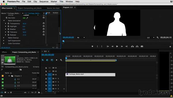Matte generation and keying footage: Premiere Pro Guru: Compositing and Masks