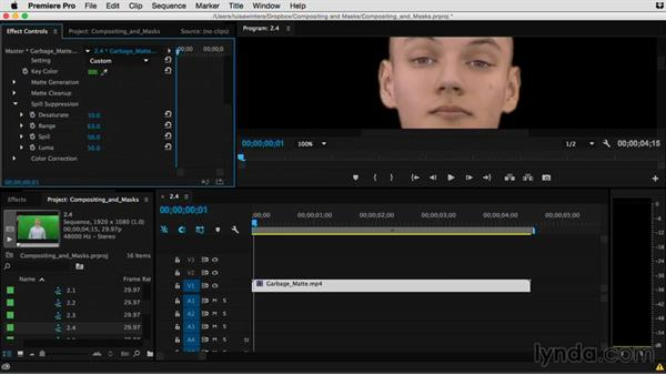 Removing color casts with spill suppression: Premiere Pro Guru: Compositing and Masks