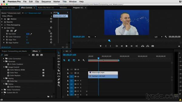 Using any color to create a composite with Color Key: Premiere Pro Guru: Compositing and Masks