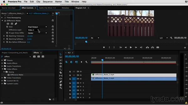 Creating a composite with the Difference Matte key: Premiere Pro Guru: Compositing and Masks