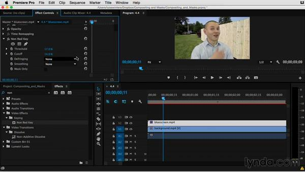 Understanding the Non-Red Key effect: Premiere Pro Guru: Compositing and Masks