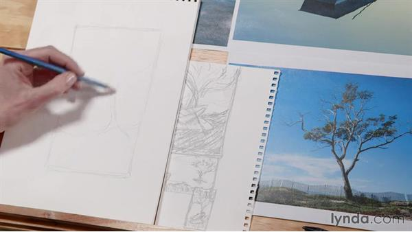 Choosing a thumbnail to develop: Artist at Work: Developing a Composition