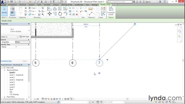 Adding grids to the model: Revit Structure 2016 Essential Training