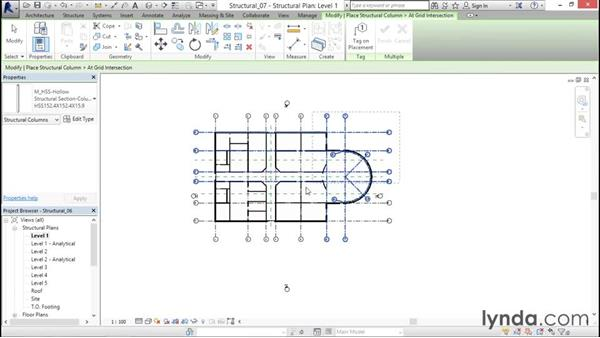 Adding steel columns to the model: Revit Structure 2016 Essential Training