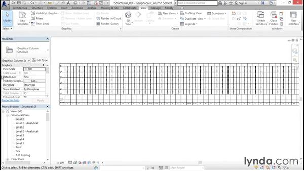 Creating a column schedule: Revit Structure 2016 Essential Training
