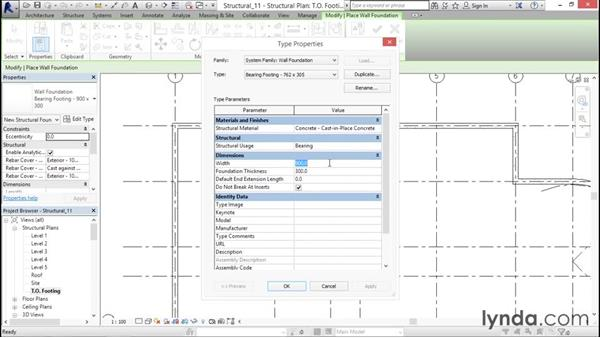 Adding wall footings: Revit Structure 2016 Essential Training
