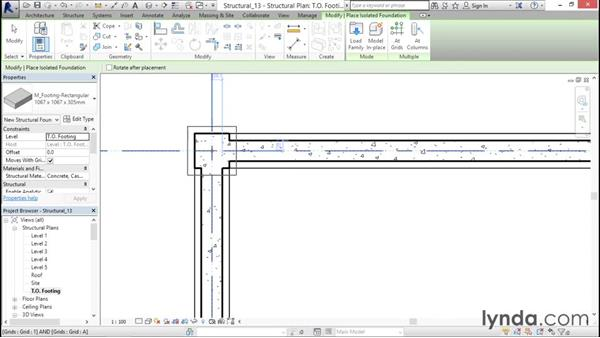 Adding isolated footings: Revit Structure 2016 Essential Training