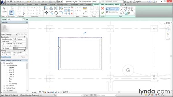 Creating a shaft opening: Revit Structure 2016 Essential Training