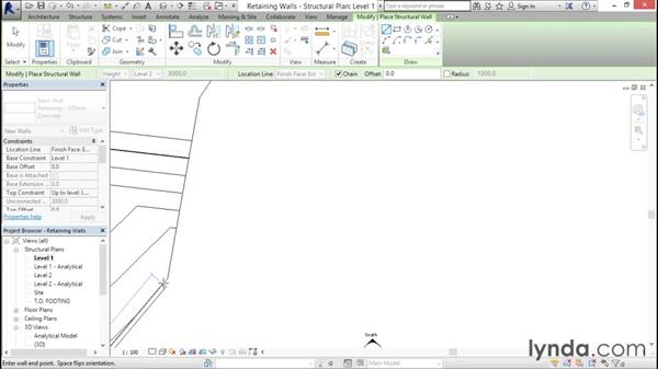 Retaining walls and footings: Revit Structure 2016 Essential Training