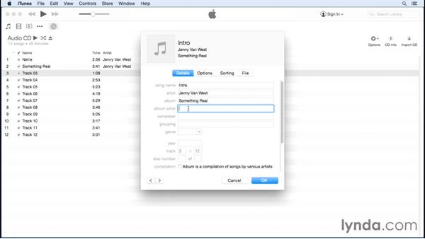Manually entering song info: Up and Running with iTunes 12