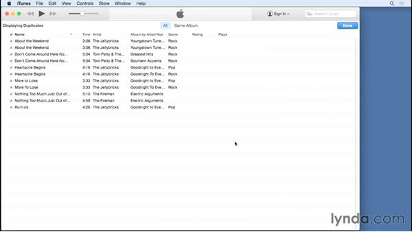 Finding duplicate songs: Up and Running with iTunes 12