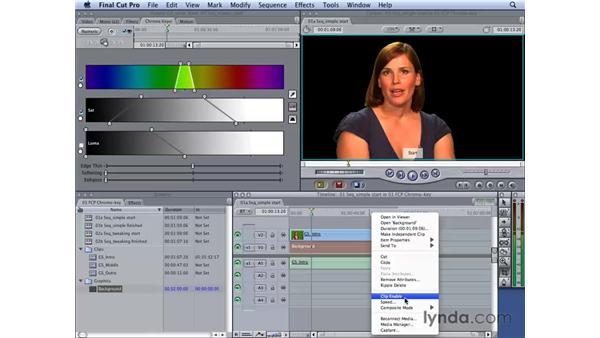 Creating a simple key: Final Cut Studio 2: Chroma Keying