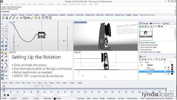 Setting up the rotation: Animation with Rhino and Bongo