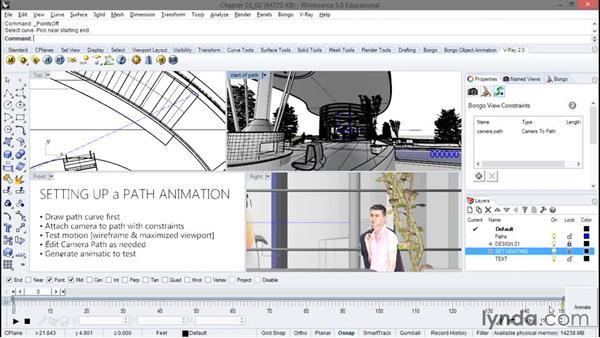 Setting up a camera path: Animation with Rhino and Bongo