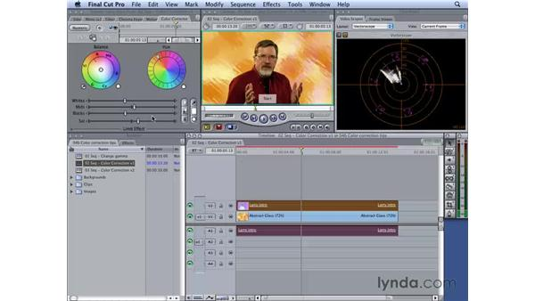 Using color correction : Final Cut Studio 2: Chroma Keying