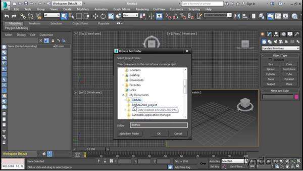 Using project folders: 3ds Max 2016 Essential Training