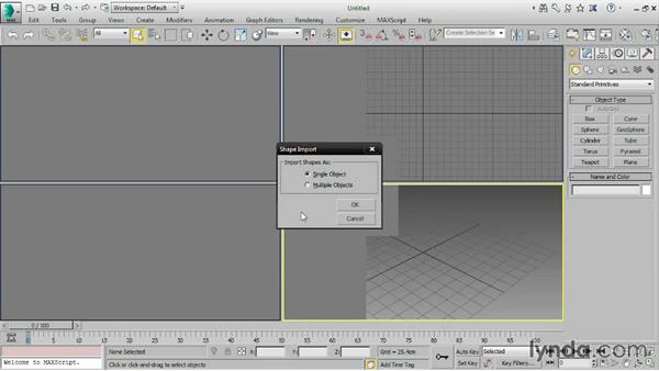 Importing Illustrator paths to 3ds Max: 3ds Max 2016 Essential Training