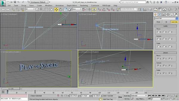 Editing keyframes in the timeline: 3ds Max 2016 Essential Training