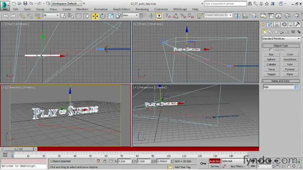 Creating keyframes in Auto Key mode: 3ds Max 2016 Essential Training