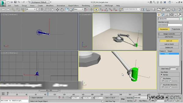 Adding link targets in the Motion panel: 3ds Max 2016 Essential Training
