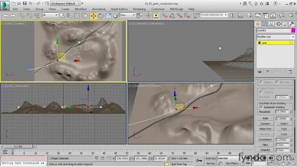 Constraining animation to a path: 3ds Max 2016 Essential Training