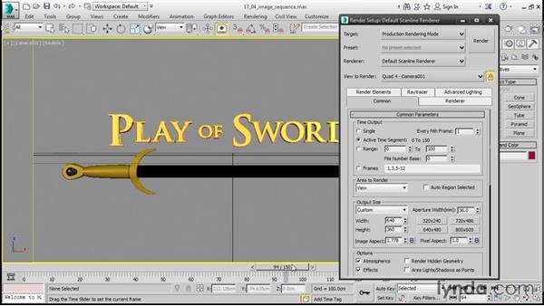 Rendering image sequences: 3ds Max 2016 Essential Training