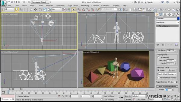 Distance blurring with Depth of Field: 3ds Max 2016 Essential Training