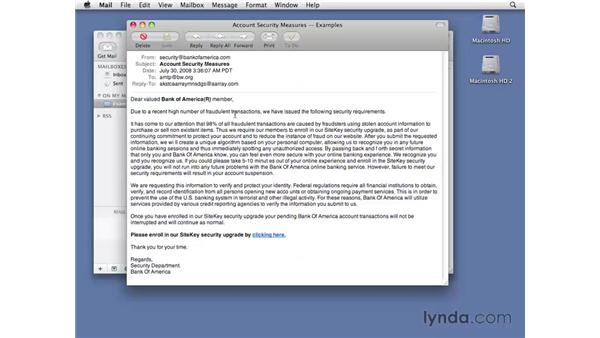 Identifying phishing spam: Managing Spam Essential Training