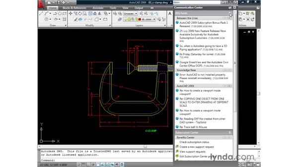 Accessing the InfoCenter: AutoCAD 2009 New Features