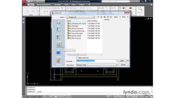 Opening an AutoCAD drawing: AutoCAD 2009 Essential Training