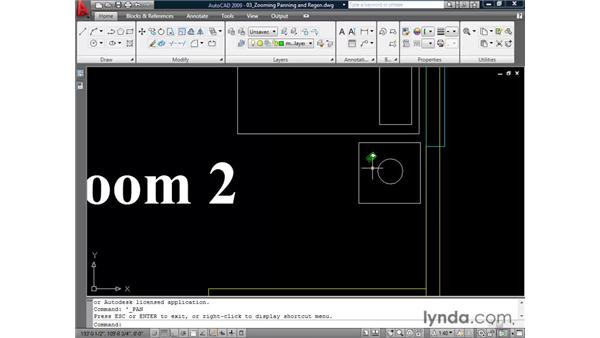 Zooming, panning, and regenning: AutoCAD 2009 Essential Training