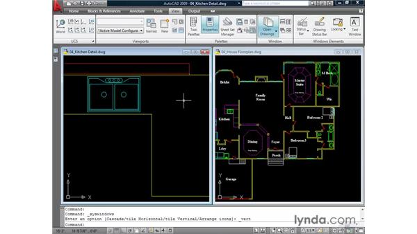Working in a multiple-document environment: AutoCAD 2009 Essential Training