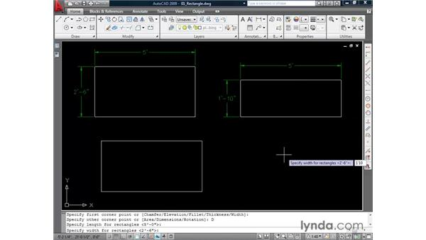 Drawing rectangles: AutoCAD 2009 Essential Training