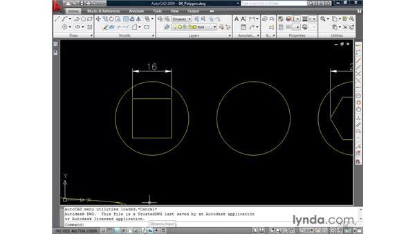 Drawing polygons: AutoCAD 2009 Essential Training