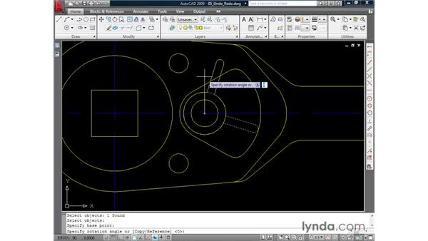 Undoing and redoing actions: AutoCAD 2009 Essential Training
