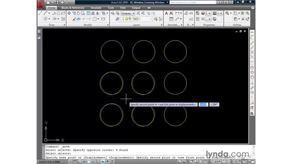 Selecting elements with windows : AutoCAD 2009 Essential Training