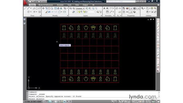 Removing elements from selections: AutoCAD 2009 Essential Training
