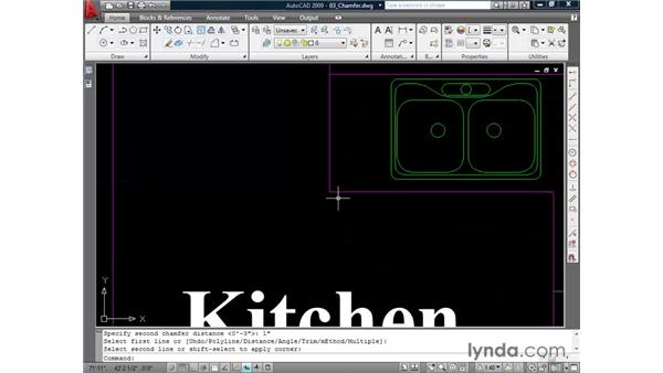 Creating chamfers: AutoCAD 2009 Essential Training
