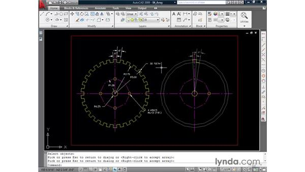 Creating patterned copies with arrays: AutoCAD 2009 Essential Training